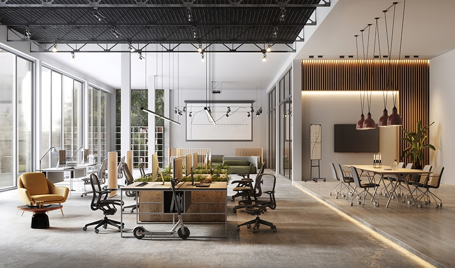 elegant large and modern designed office interior